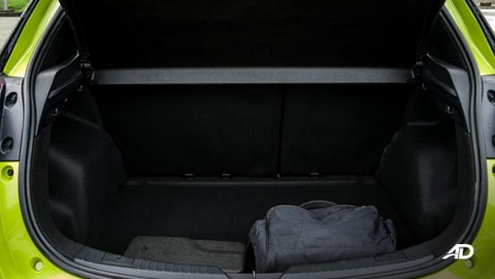 toyota yaris road test review trunk cargo interior