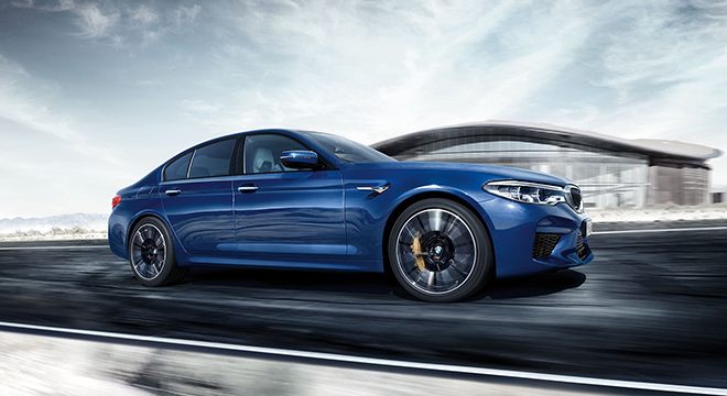 BMW M5 with M xDrive 2018 blue