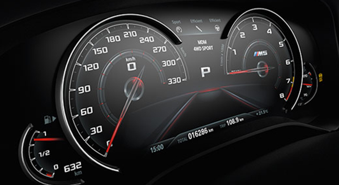 BMW M5 with M xDrive 2018 instrument cluster
