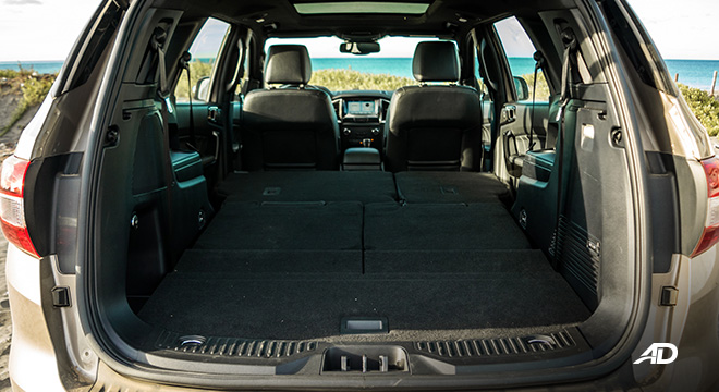 ford everest review road test trunk cargo all seats folded interior