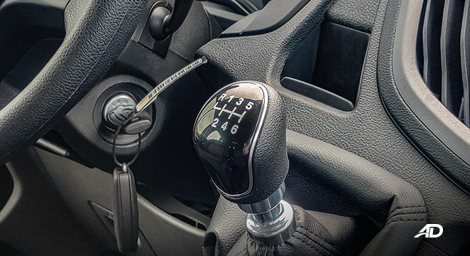ford transit review road test 6-speed manual gear lever interior