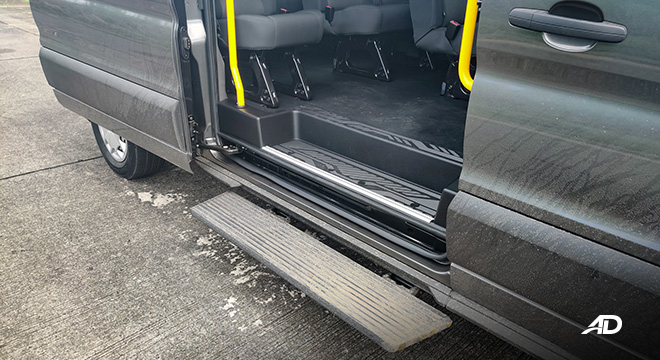ford transit review road test side step board interior