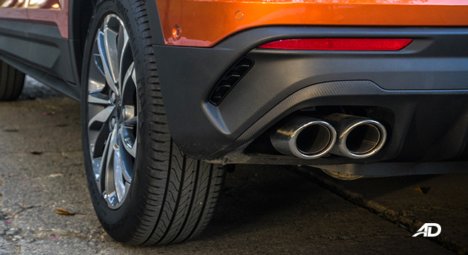 geely coolray road test review tailpipes exterior