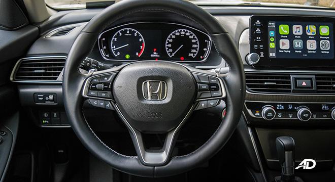 honda accord review road test steering wheel interior
