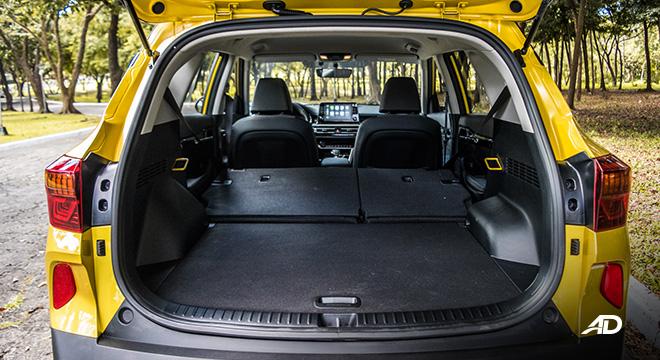 kia seltos review road test trunk cargo folded seats interior