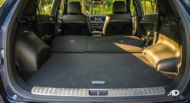 kia sportage review road test trunk cargo interior fold