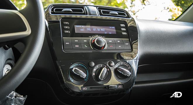 mitsubishi mirage road test infotainment system interior