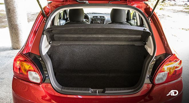 mitsubishi mirage road test trunk cargo interior