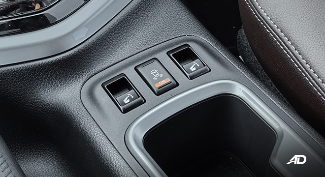 Nissan terra review road test second row fold buttons interior