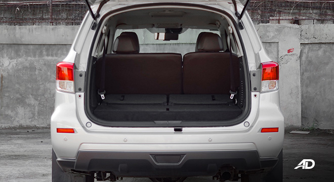 Nissan terra review road test trunk cargo third row down interior philippines