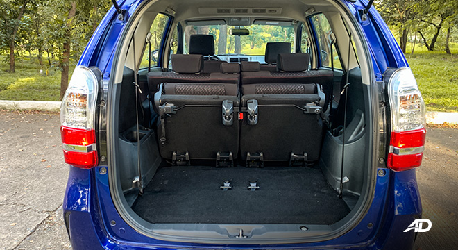 toyota avanza road test trunk cargo interior