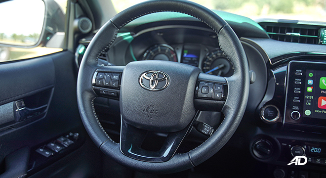 Toyota HIlux Conquest road test steering wheel