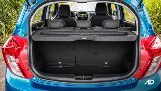 chevrolet spark road test interior trunk
