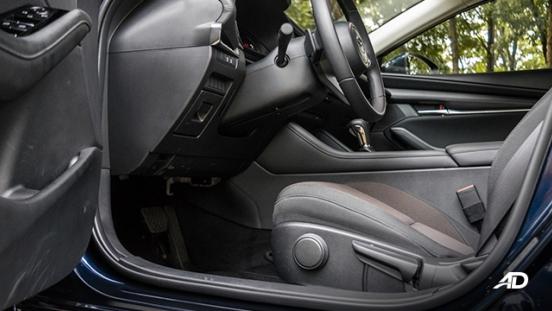 mazda3 elite sedan review road test front cabin legroom interior