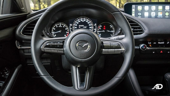 mazda3 elite sedan review road test steering wheel interior philippines