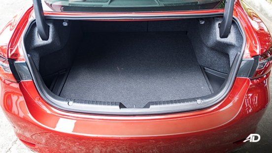 mazda6 sedan turbo road test interior trunk