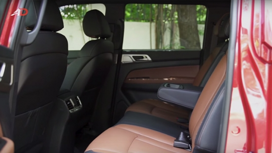 Ssangyong musso grand road test rear cabin interior