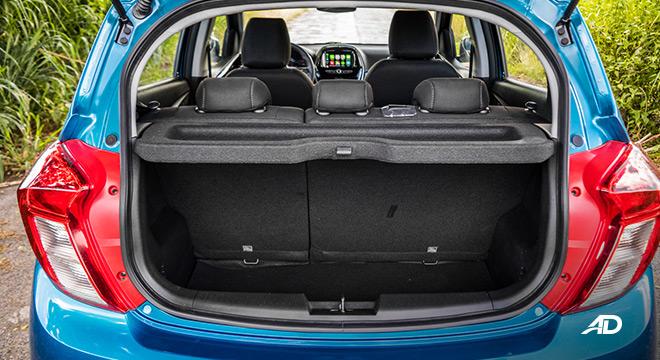 chevrolet spark road test interior trunk