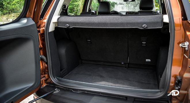 ford ecosport titanium road test interior trunk