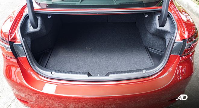 mazda6 sedan turbo road test interior trunk