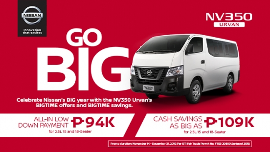 2019 Nissan NV350 Urvan promo Philippines