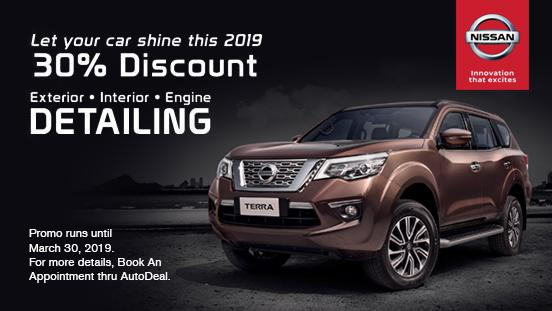Nissan 30% Discount on Exterior, Interior, and Engine Detailing