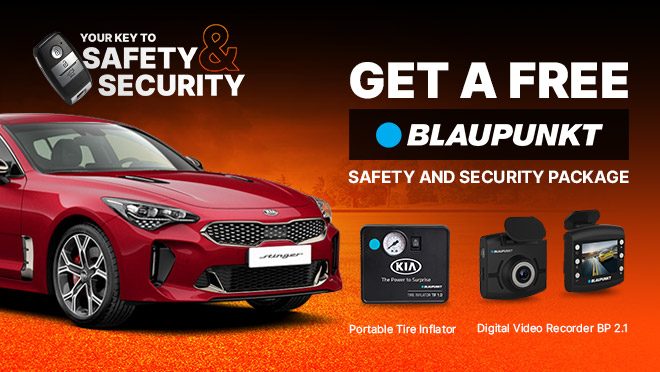 Kia Stinger with FREE Blaupunkt Safety and Security Package