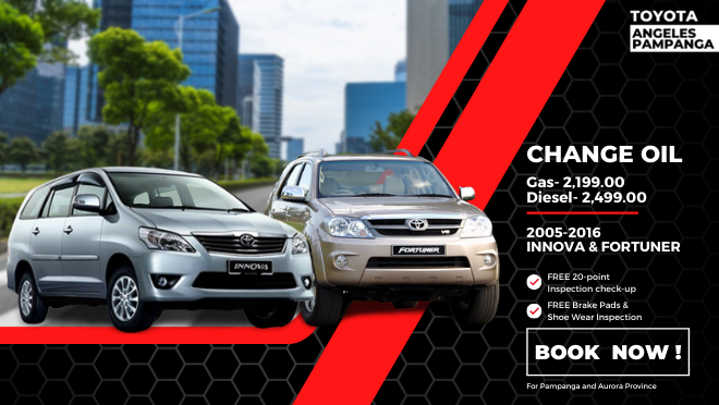 Toyota Pasong Tamo Change Oil for Toyota Innova and Toyota Fortuner