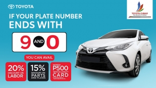 Toyota Cubao Service Plate Number Ending Promo (9 and 0)