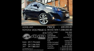 2018 Toyota Vios G AT